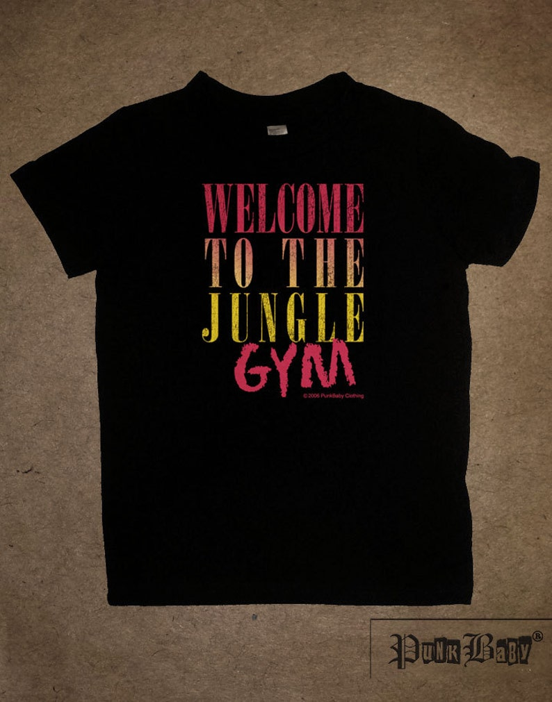 Welcome to the Jungle Gym hand screen printed black cotton image 0