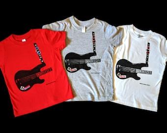 Rock bass guitar, hand screen printed baseball shirt for rockstar toddlers