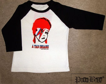 A Tad Insane hand screen printed black/white, kids baseball tee for toddler David Bowie fans