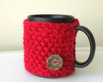 Coffee Cozy, Knit Coffee Sleeve,  Coffee Accessories, Tea Cup Cozy, Knitted Mug Cozy, Hygge Decor, mug sweater, Gifts under 10, Gift for Mom