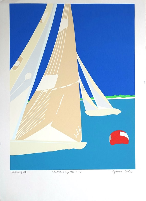 signed by the artist WINNING BACK AMERICA/'S CUP America/'s Cup poster 1987
