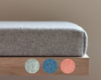 Gray wool bench cushion in custom sizes for modern seat by LinenSpace