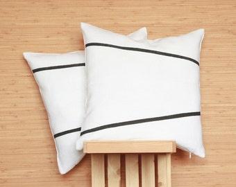 Black and white striped linen pillow cover - Scandinavian minimalist modern cushion - industrial pillow - noir et blanc Scandinave | 0085