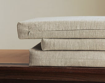 Bench cushion - custom chair pad - made to order modern box seat cushion by LinenSpace