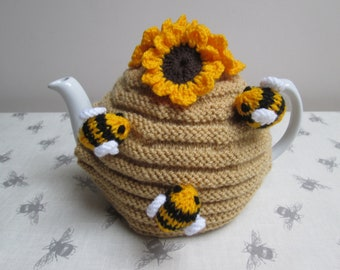 Hand Knitted Sunflowers And Bumble Bees Bee Hive Tea Cosy Cozy ~ Ready To  Ship b44a07666672
