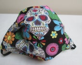 Sugar Skulls Print Adult Pleated Cotton Face mask With Filter Pocket Reuseable Ready To Ship