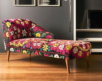 Chaise Lounge, couch, ottoman, day bed, bohemian style with suzani, home decor, boho chic