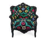 Antique Louis XV Rococo armchair, vintage furniture, suzani