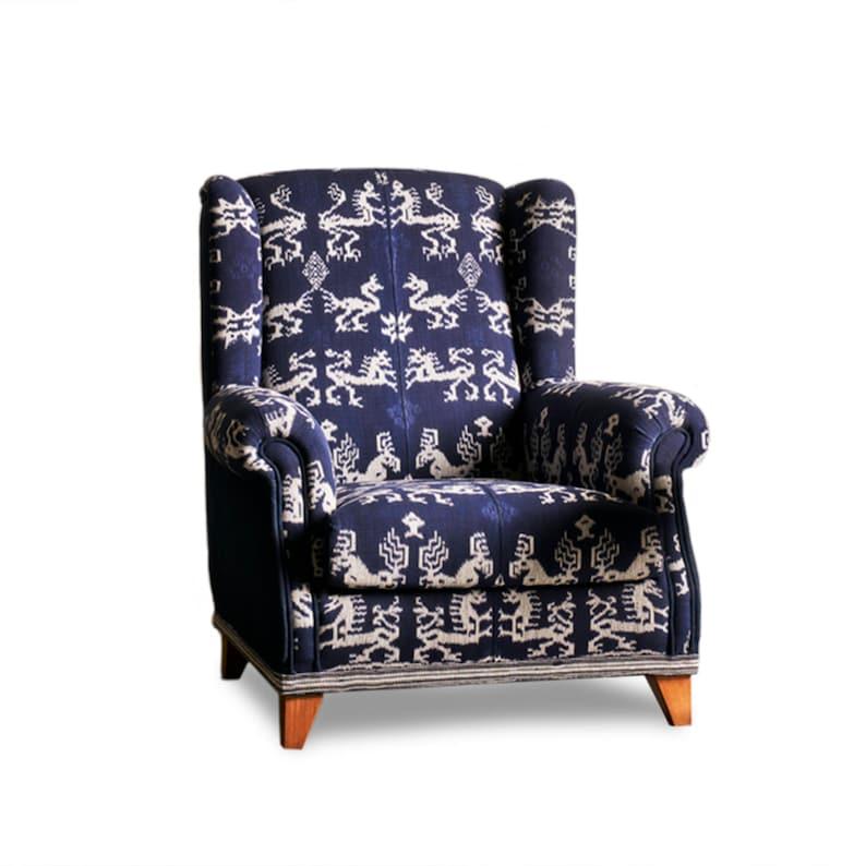 Indigo Armchair With Vintage Ikat And Denim. Elegant Ethnic   Etsy