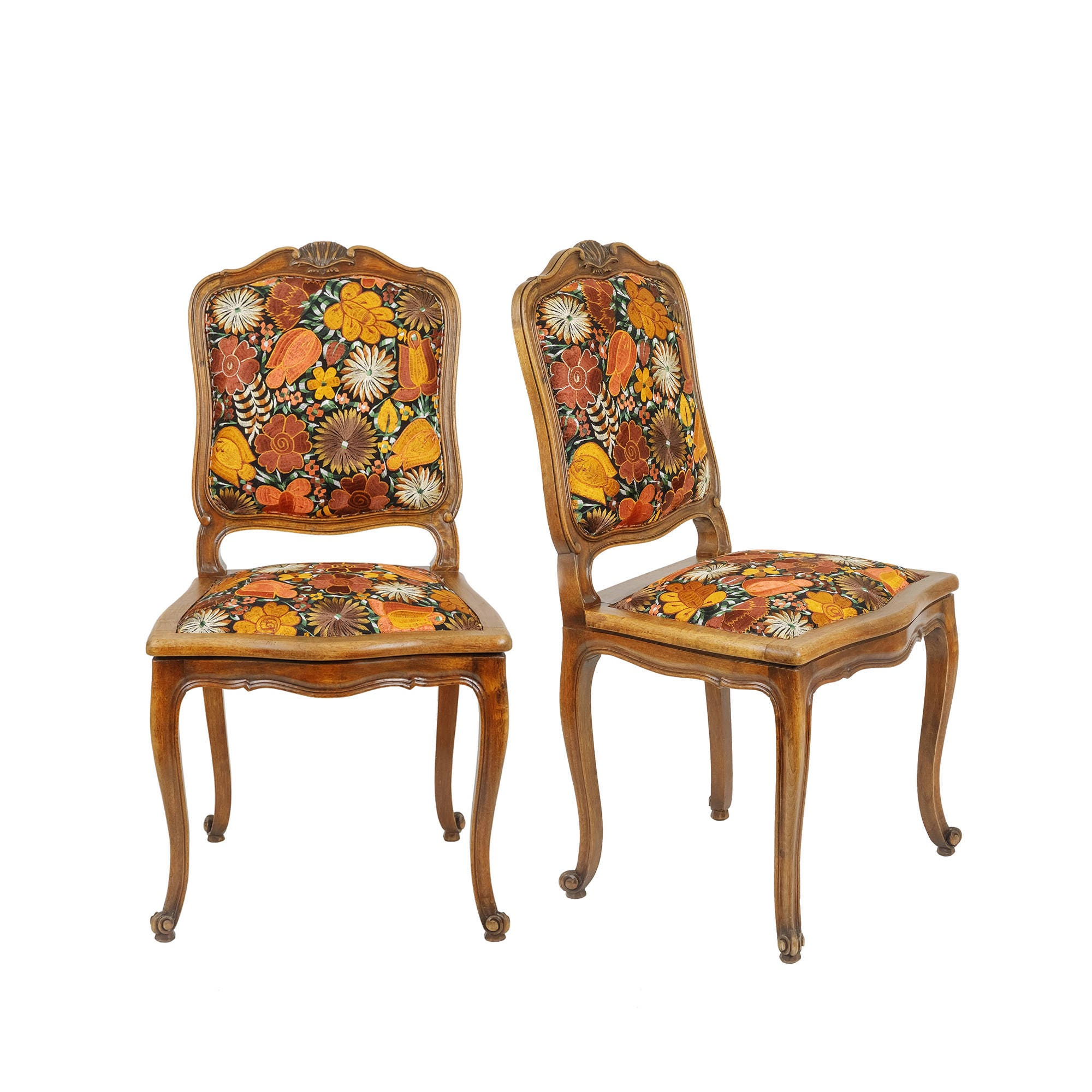 Vintage Reupholstered Chairs Mexican Embroidery