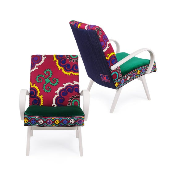 Vintage Armchairs Bohemian Furniture Reupholstered Etsy