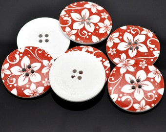5 Wooden LARGE Funky Red Flower Buttons 40mm Sewing scrap book