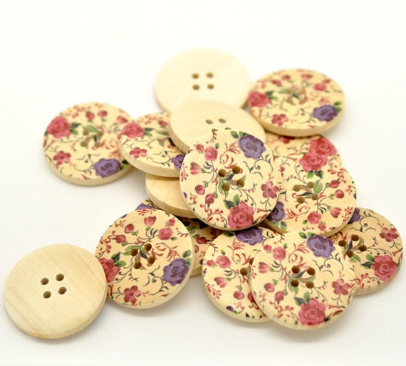 Pack of 10 Purple and Blue Flower Design Wooden Buttons 30mm