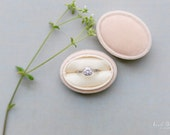 Ring Box Oval Box in Champagne Velvet For Weddings, Engagements, Popping The Question, Heirloom Storage, Gift Giving