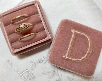 Mauve Ring Box, Mauve Velvet Ring Box, Double Ring Box, Velvet Ring Box, Ring Box, Pink Ring Box,