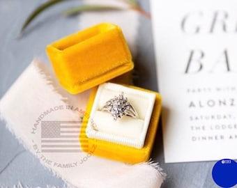 Yellow Velvet Ring Box, Wedding Ring Box, Engagement Ring Box, Proposal Ring Box, Yellow Ring Box, Triple Ring Box