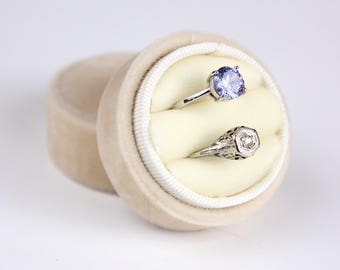 Velvet Ring Box in Champagne Velvet Circle Box For Weddings, Heirloom Jewelry, Gifts, Bride, Ring Box Circle Double Box