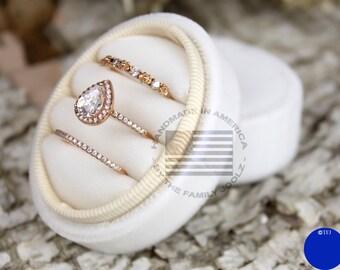 Three Ring Box, Oval Ring Box, Velvet Ring Box, Wedding Ring Box, Triple Ring Box, Wedding Ring Presentation Box