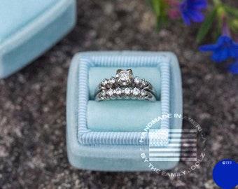 Ring Box, Blue Ring Box, Ring Bearer Box, Wedding Ring Box, Handmade Ring Box, Proposal Ring Box