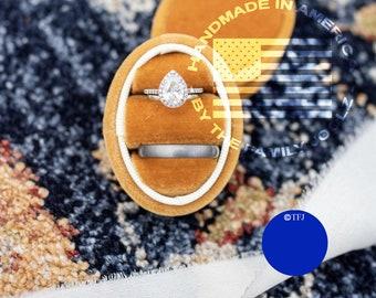 Copper Velvet Ring Box, Engagement Ring Box, Wedding Ring Box, Orange Ring Box, Proposal Ring Box