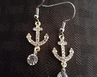 Rhinestone Anchor Earrings