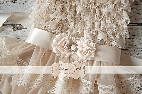 Rustic Flower Girl Dress Country Flower Girl Outfit Ivory