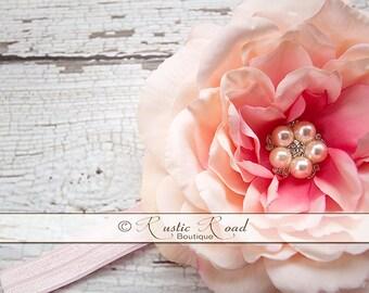 Flower Headband, Pink/Coral Headband, FlowerGirl Headpiece, Baby Girls Birthday, Bridal Headdress, Vintage Rose Headband, Baby Headband