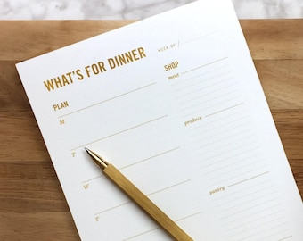 Gold Meal Planning Notepad // Weekly Meal Planner with Tear-off Grocery List & Refrigerator Magnet // gift for her, mom gift
