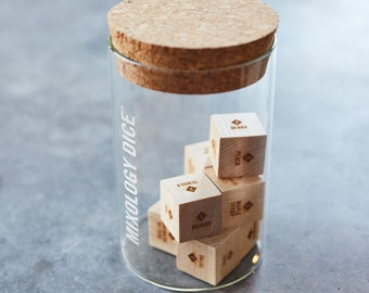 Mixology Dice Tumbler // Laser engraved wood dice to inspire craft cocktails // Christmas gift, gift for men, Boyfriend gift, gift for dad
