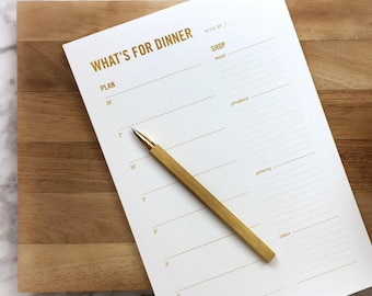Gold Meal Planning Notepad / Weekly Meal Planner with Tear-off Grocery List & Refrigerator Magnet / Mother's Day Gift, for her, hostess gift