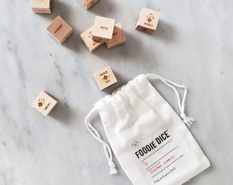 Foodie Dice® Seasonal Dinners Pouch - Laser engraved dice for cooking ideas / Foodie gift, date night, hostess gift, birthday gift