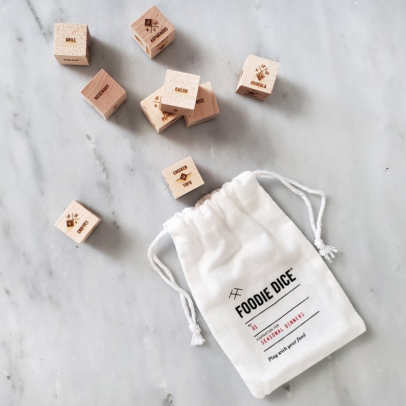 Foodie Dice® Seasonal Dinners Pouch  Laser engraved dice for image 1