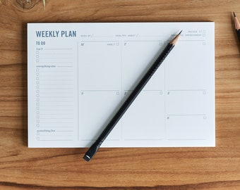 """Weekly Planning Pad - Weekly Planner Notepad with to Do List, Daily Schedule, and Habit Tracker - 9x6"""" - Office desk organization"""
