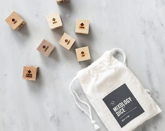 Mixology Dice pouch - Laser engraved wood dice to inspire craft cocktails / Boyfriend gift, gift for men, gift for him, stocking stuffer