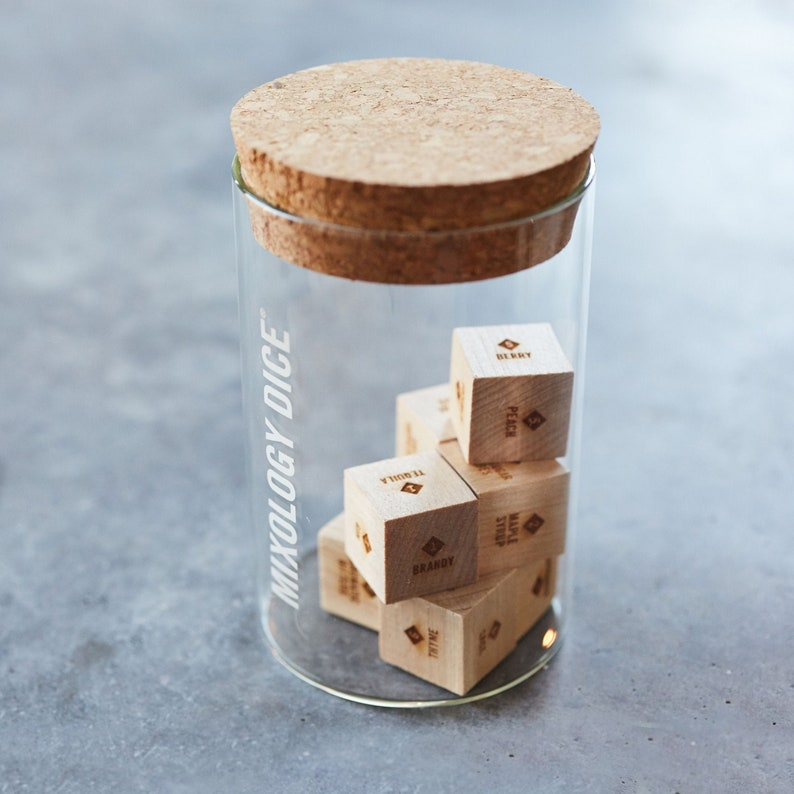 Mixology Dice Tumbler // Laser engraved wood dice to inspire image 0
