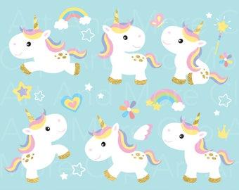 Unicorn Clipart Gold Clip Art Pony Horse Rainbow Cute Baby Little Digital Instant Download
