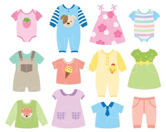 71be741b005 Baby dress Clipart Baby Shower Clipart Baby Clothes Clipart - Digital  Instant Download