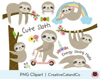 Sloth Clipart Cute Sloth Clip Art | Etsy
