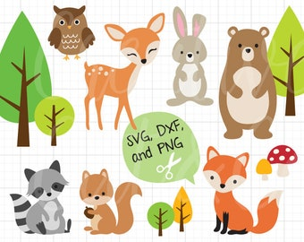 graphic regarding Free Printable Forest Animal Silhouettes titled Woodland pets svg Etsy