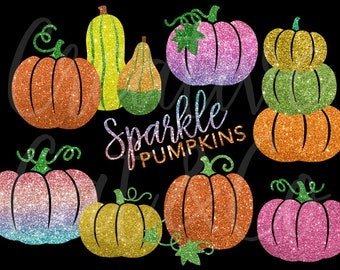 Glitter Pumpkin Clipart Sparkle Clip Art Gradient Gold Thanksgiving Halloween Decorative