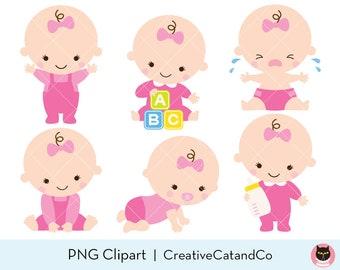 Baby Shower Clipart Clip Art Baby Boy Girl Clipart Cute Baby Etsy