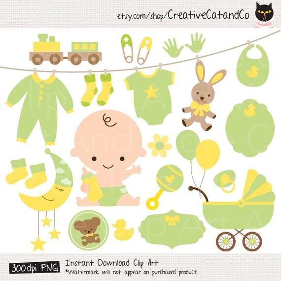 Grüne Baby Clipart Grün Baby Dusche Clipart Neutral Geschlecht Etsy