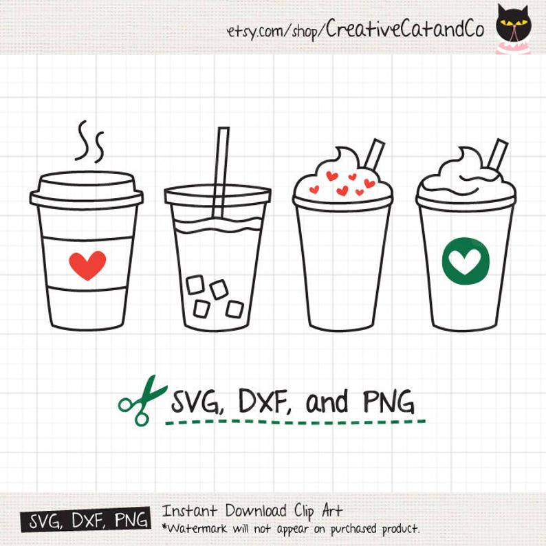 Coffee SVG Cute Iced Coffee To Go Line Art SVG DXF Cut ...