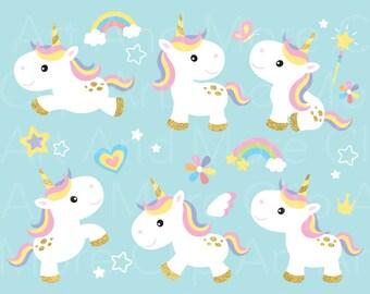 Unicorn Clipart Gold Unicorn Clip Art Pony Horse Rainbow Clipart Cute Baby Unicorn Little Horse Clipart Digital Instant Download