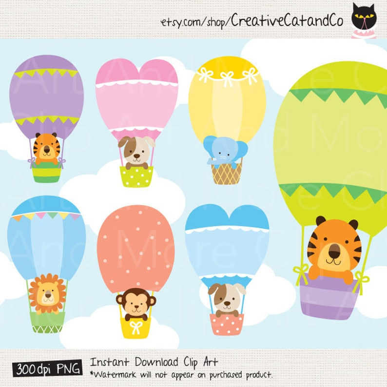 Animal In Hot Air Balloon Clipart Hot Air Balloon Animal Etsy