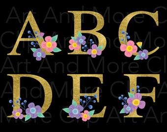 Gold Alphabet Clipart Floral Alphabet Clipart Wedding Alphabet Clipart Gold Letter Clipart Gold Monogram Clipart Floral Font Clipart