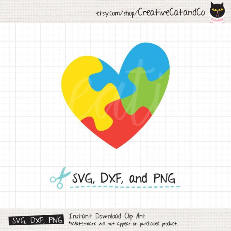 b64d2d5e3 Autism Puzzle Heart SVG DXF Autism Awareness Jigsaw Heart
