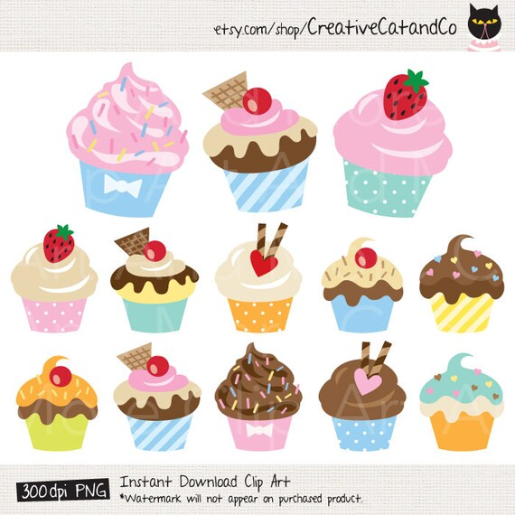 Kuchen Clipart Cupcake Clipart Kuchen Clip Art Kuchen Clipart Etsy