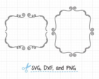 Flourish Frame SVG DXF file for Cricut and Silhouette Swirl Frame SVG Cute Doodle Frame svg Flourish Swirl Border svg dxf Cut File Clip Art