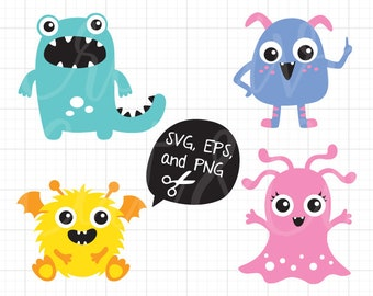 Cute Monster SVG Little Monster EPS Files for Cricut or Silhouette Funny Silly Monster svg Cut File Vector eps Clipart Clip Art